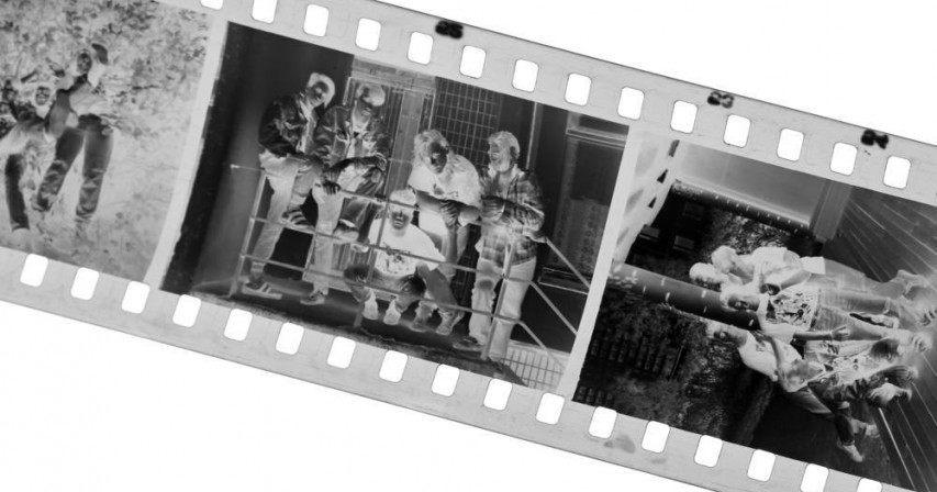 Old black-white photofilm. A negative 35mm...