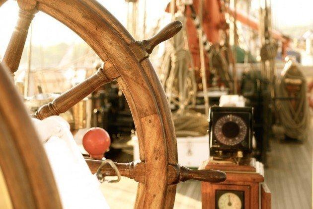 Background - an ancient navigation equipment sailing ship