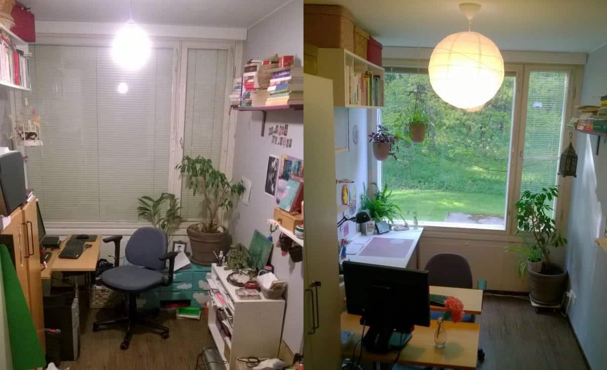 """Taitelija Elina Puohiniemen toimisto ennen ja jälkeen KonMarin toteuttamisen: """"Toimistossa on enää työpöytä ja yksi kaappi, kun ennen siellä oli kolme kaappia, iso kirjahylly, lipasto ja lukematon määrä pinoja ja keskeneräisiä asioita odottelemassa hoitamista."""""""